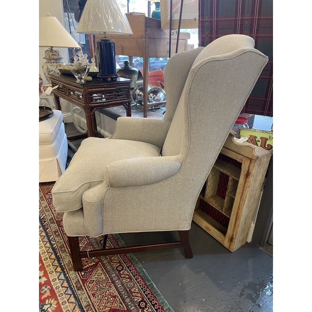 1940s Vintage Mahogany Chippendale Wingback With Down Cushions For Sale - Image 4 of 7