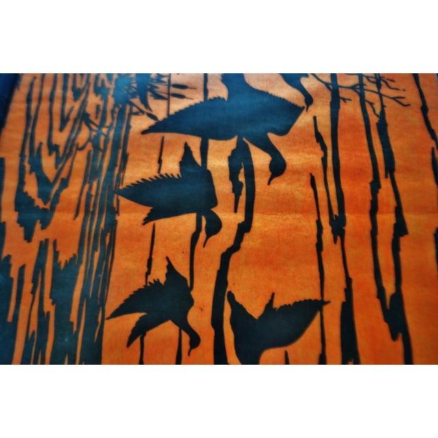 Vintage Orange Water Fowl Artwork - Image 7 of 10