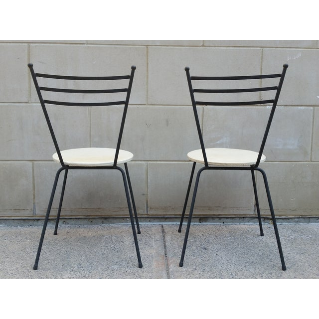 Mid-Century Petite Wrought Iron Cafe Chairs - Pair - Image 6 of 9