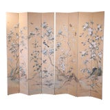 Image of Monumental Oriental 2 Piece 8 Panel Hand Painted Folding Screen Room Divider For Sale