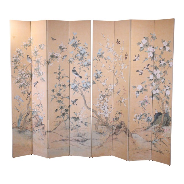 Monumental Oriental 2 Piece 8 Panel Hand Painted Folding Screen Room Divider For Sale