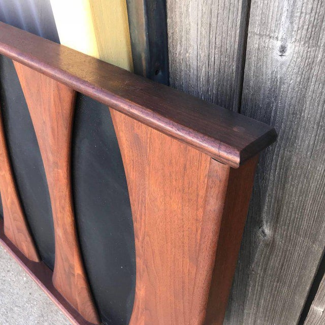 For your consideration, a Mid-Century Modern walnut headboard after Glenn of California full size. The USA, circa 1960s....