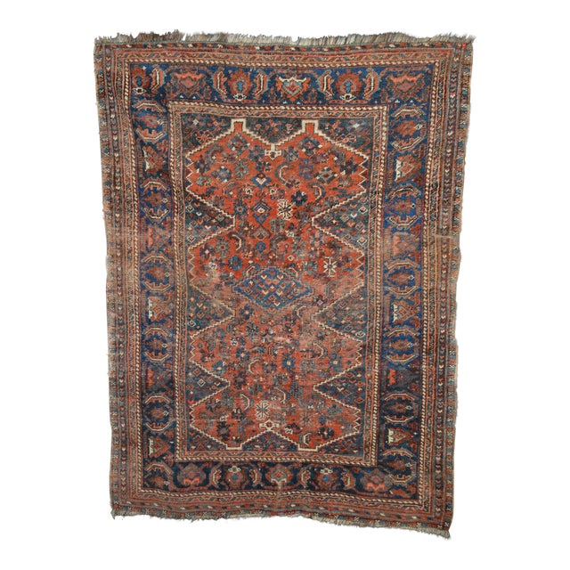 """Distressed Antique Persian Tribal Rug - 3'7"""" X 4'9"""" - Image 1 of 9"""