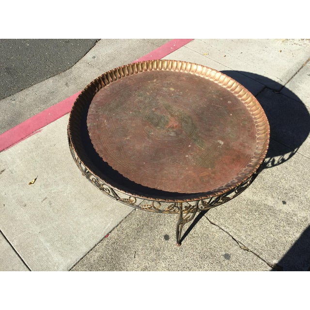 Mid-Century Modern Round Brass Tray Table with Wrought Iron Stand For Sale - Image 5 of 6