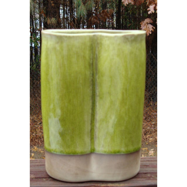French Ceramic Chartreuse Green Vase JARS France - Image 3 of 8