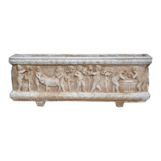 19th Century French Carved Stone Jardiniere With Children Figural Motifs