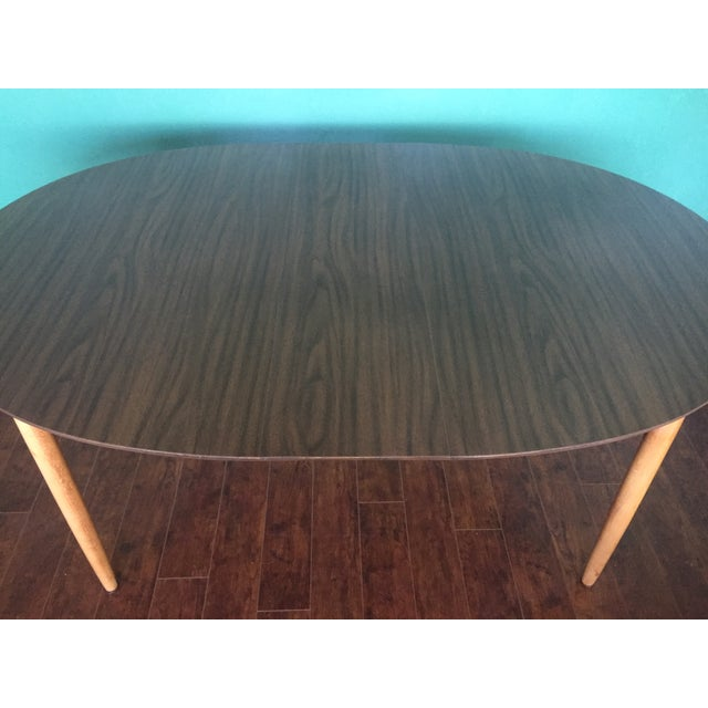Mid Century Modern Oval Table With Leaf - Image 10 of 11