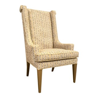 Caracole Couture Modern Cut Velvet Purrr-Fect Wingback Chair For Sale