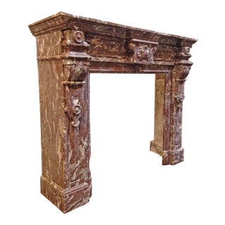Antique Red Marble Mantel For Sale