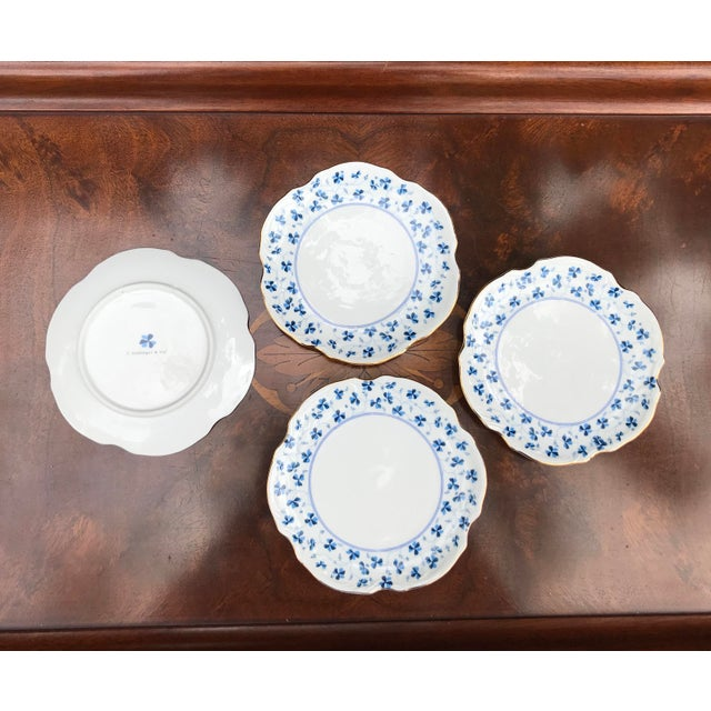 Godinger and Company Dessert Plates in the Blue Belle Pattern - Set of 4 For Sale In West Palm - Image 6 of 8