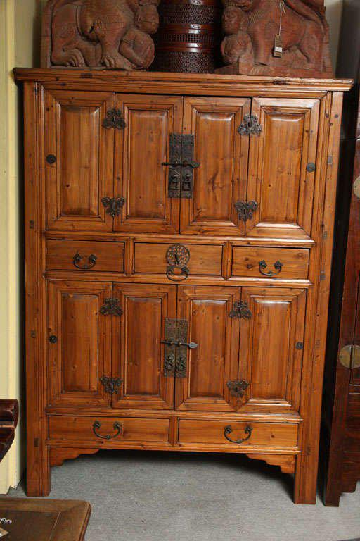 A Large Size Chinese Pine Cabinet With Original Patinated Brass Butterfly  Hardware From The Late 19th