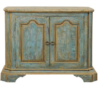 Custom Vintage Italian Style Two-Door Painted Wood American Buffet Console For Sale