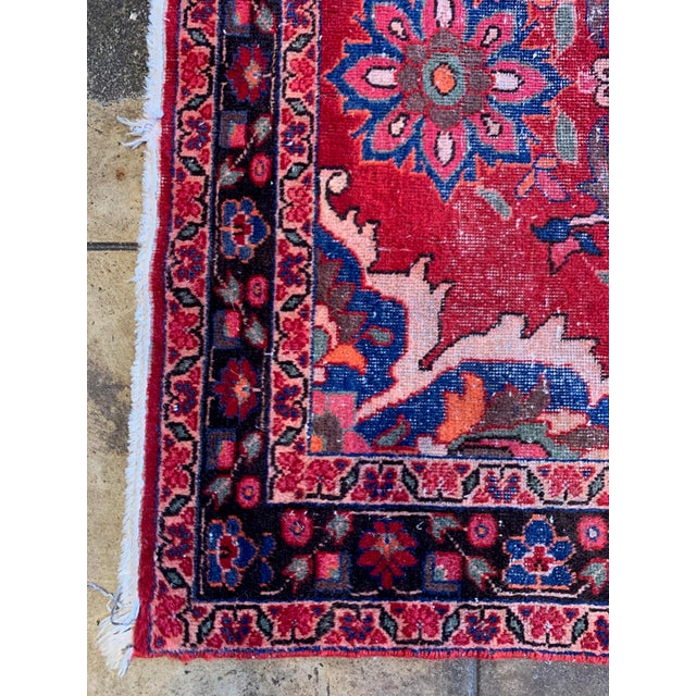 """Rich Tones Vintage Persian Area Rug - 9' 8.5"""" X 5' For Sale In Los Angeles - Image 6 of 7"""