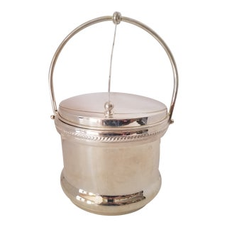 Vintage f.b. Rogers Silver on Copper Ice Bucket W/ Pyrex Glass Insert For Sale