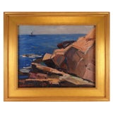 "Image of Modernist Seascape Oil Painting Titled ""Monhegan"" by Karl Schmidt, Dated 1955 For Sale"