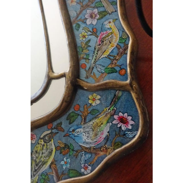 Glass Reverse Glass Hand-Painted Bird Mirror For Sale - Image 7 of 9
