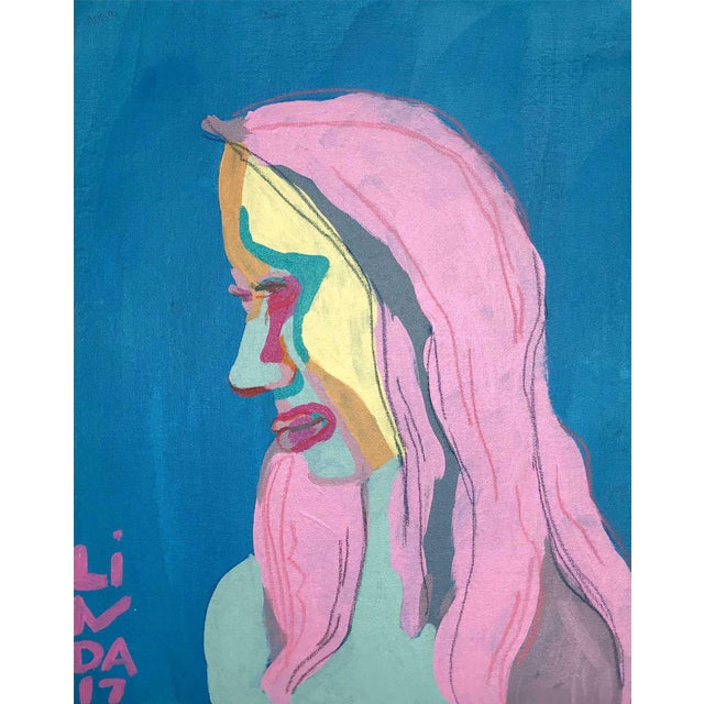 """Contemporary Abstract Portrait Painting """"She's Got All-New Everything"""" - Framed For Sale"""