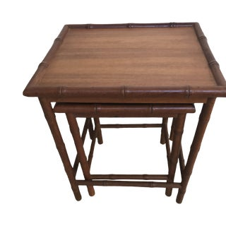 20th Century Chinese Bamboo Nesting Tables - Set of 2 For Sale