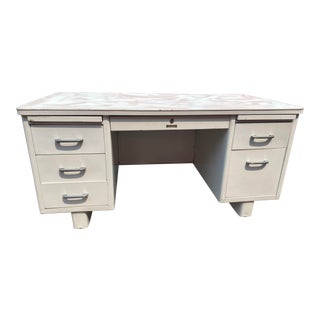 Vintage Mid Century Modern Sears Metal Tanker Desk For Sale