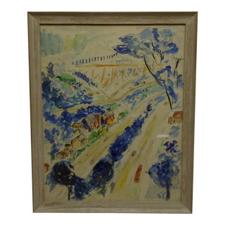 """1958 Americana Framed Original Painting, """"North Side of Pittsburgh"""" by S. Gottlieb For Sale"""