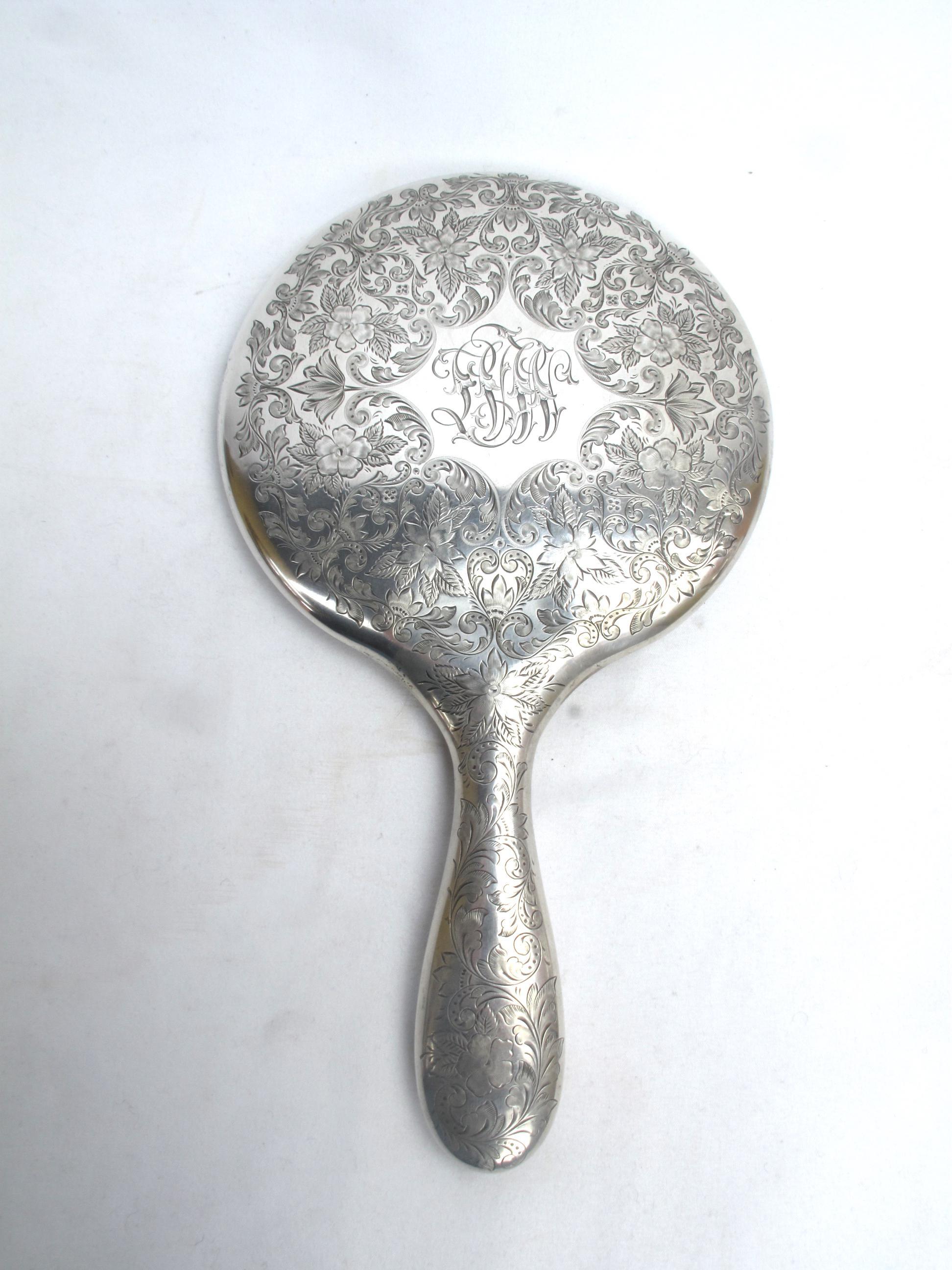 Antique hand mirror Drawing Silver Antique Sterling Silver Hand Mirror With Floral Engraving Beveled Edge For Sale Image Amazoncom Antique Sterling Silver Hand Mirror With Floral Engraving Beveled