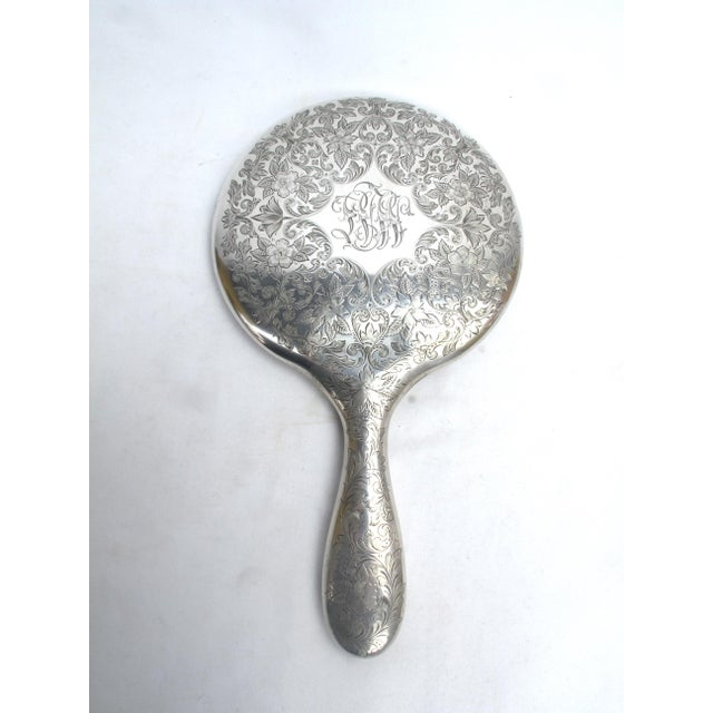 Antique Sterling Silver Hand Mirror With Floral Engraving Beveled