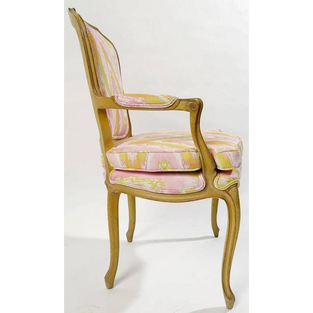 1940s Pair of 1940s Louis XV Style Fauteuils in Colorful New Flamestitch Upholstery For Sale - Image 5 of 8