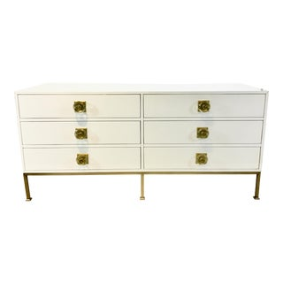 Contemporary White Lacquer Six Drawer Dresser For Sale