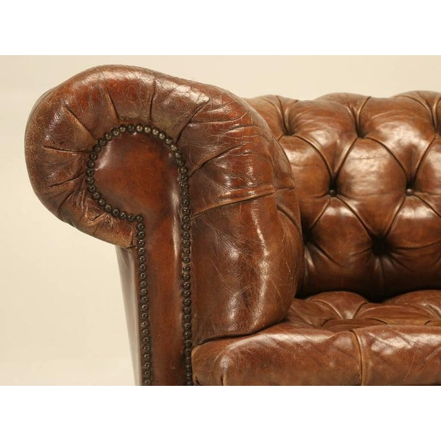 Original Leather Antique Chesterfield Chair For Sale - Image 10 of 11
