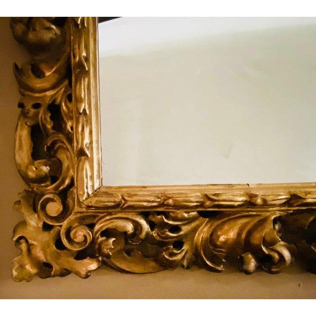 1920s Gilt Gesso Decorated Carved Wall / Console Mirror, Italian For Sale - Image 5 of 9