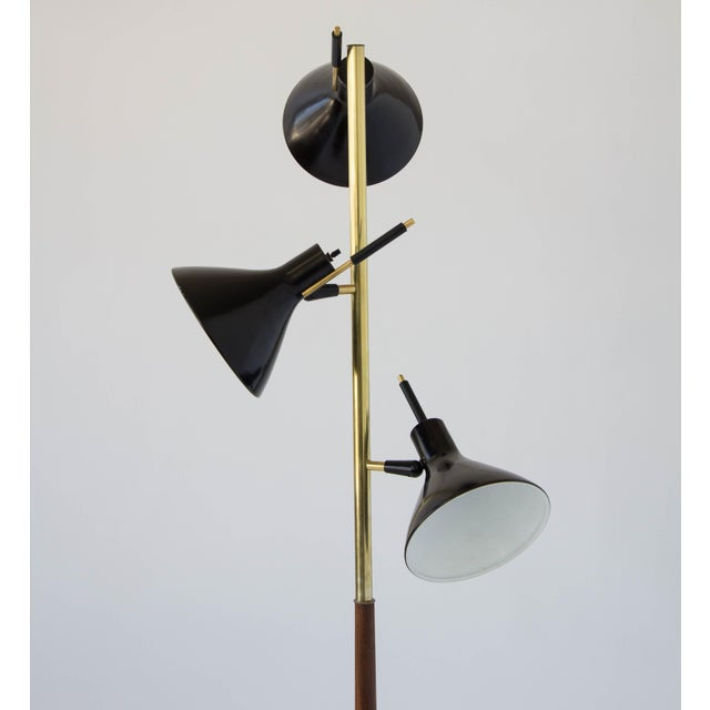 1950s Three-Shade Floor Lamp by Gerald Thurston Lightolier For Sale - Image 5 of 11