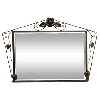 Deco Wall Mirror in Wrought Iron Frame For Sale