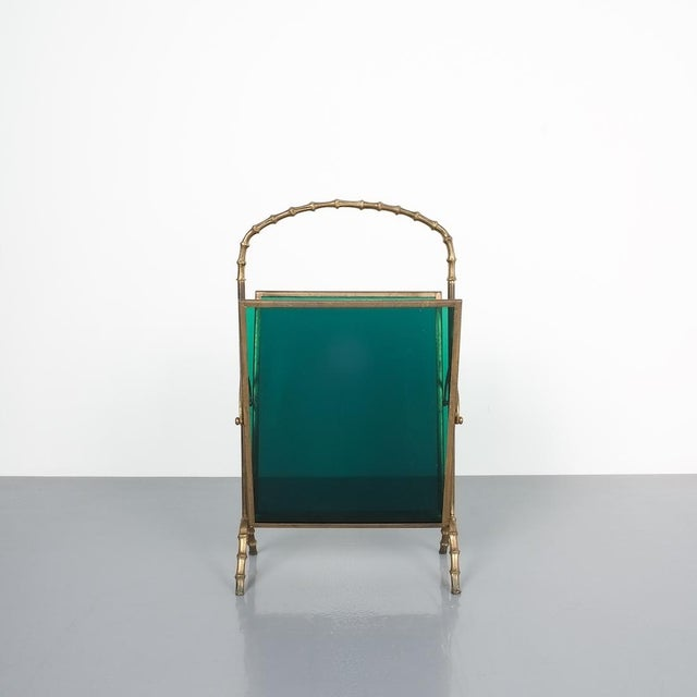 Maison Baguès Faux Bamboo Green Lucite Magazine Rack For Sale - Image 6 of 8