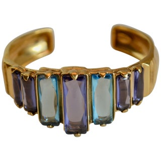 Goossens Paris Tinted Blue Rock Crystal and Gold Cuff For Sale