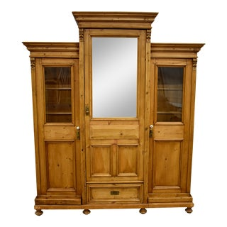 Late 19th C. Pine Three Section Hall Wardrobe For Sale