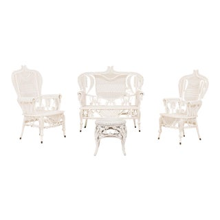 American Victorian Wicker Living Room Set - 4 Piece Set For Sale
