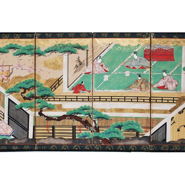 17th C. Japanese the Tale of Genji Byobu Screen For Sale - Image 4 of 13