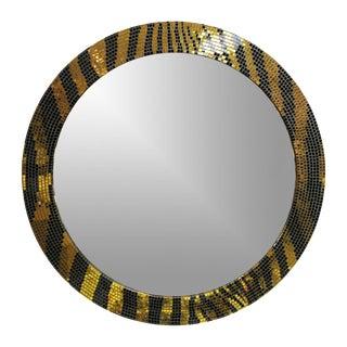 Custom Round Mosaic Tiger Skin Mirror