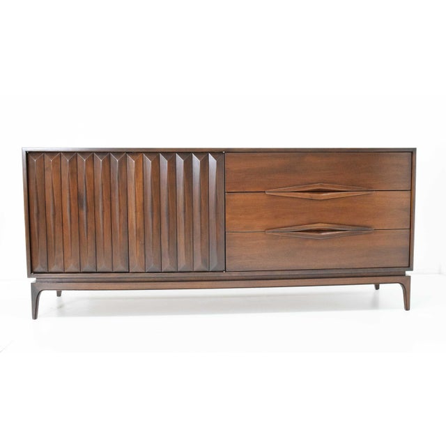 Mid-Century Modern Walnut Sculpted Sideboard For Sale - Image 10 of 11