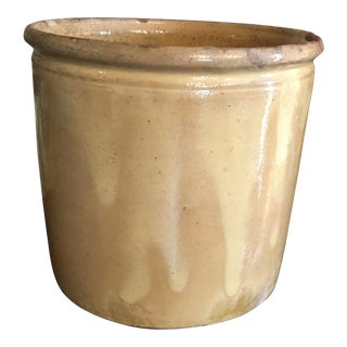 French Antique Provence Golden Yellow Pottery Container For Sale