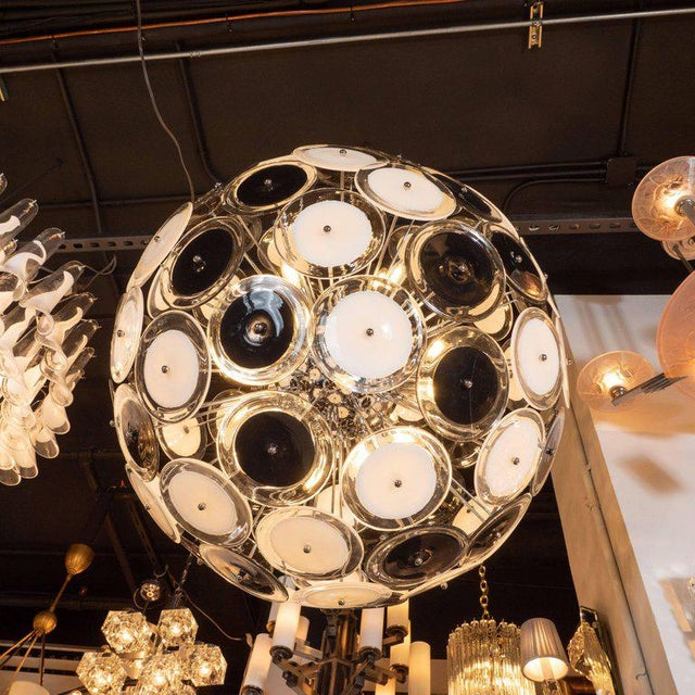 Modernist Polished Chrome Chandelier With Handblown Murano Black and White Discs For Sale In New York - Image 6 of 8