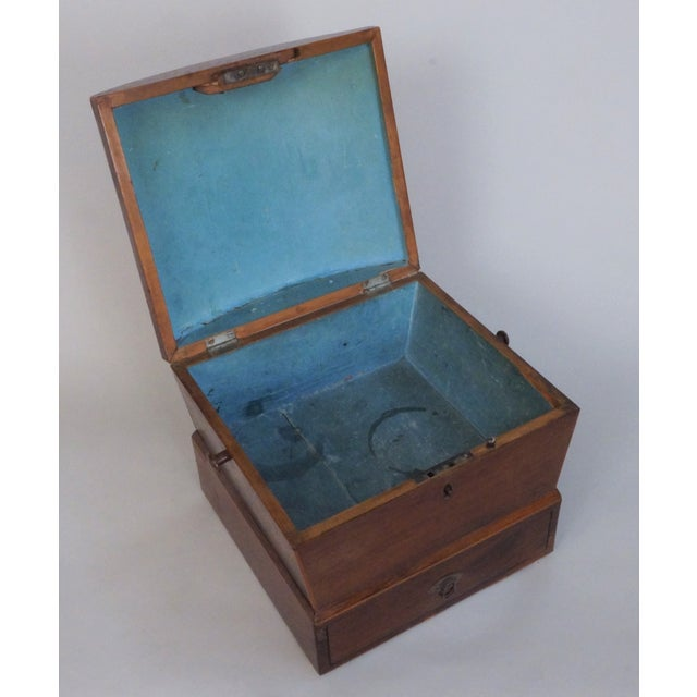 Circa 1820 English Georgian Style Mahogany and Satinwood Casket. The term 'caskets' refers to a box used for storing...