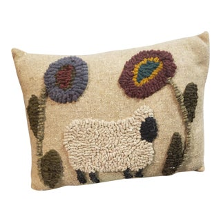 Antique Rustic Punch Needle Pillow For Sale