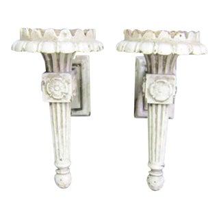 White Cast Iron Exterior Sconces - a Pair For Sale