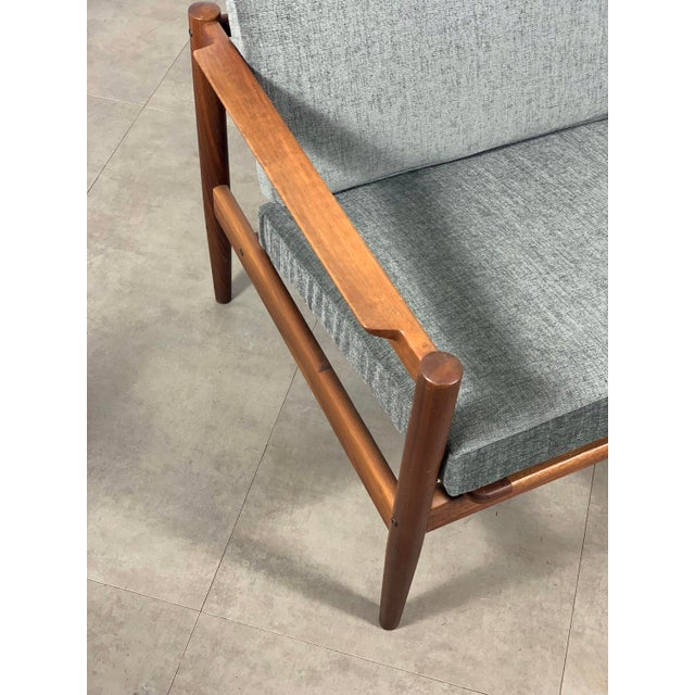 1950s Vintage Borge Jensen Teak Frame Gray Three Seat Sofa For Sale - Image 9 of 11