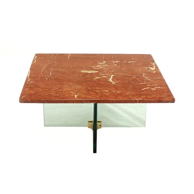 New York Marble Coffee Table: Excellent Glass X Cross Base & Marble Top Coffee Table