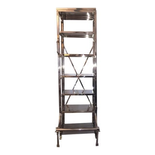 French Restoration Hardware Library Bookcase Shelving For Sale