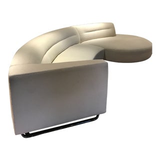 Art Deco Semi-Circle Beige Couch