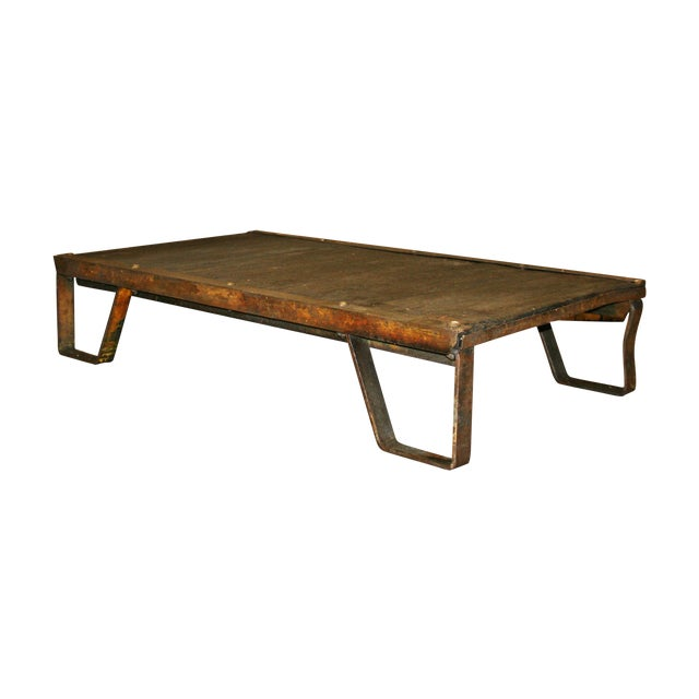Vintage Industrial Iron & Wood Pallet Table Base - Image 1 of 11