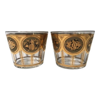 Vintage Mid Century Cera Glass Ice Buckets - A Pair For Sale